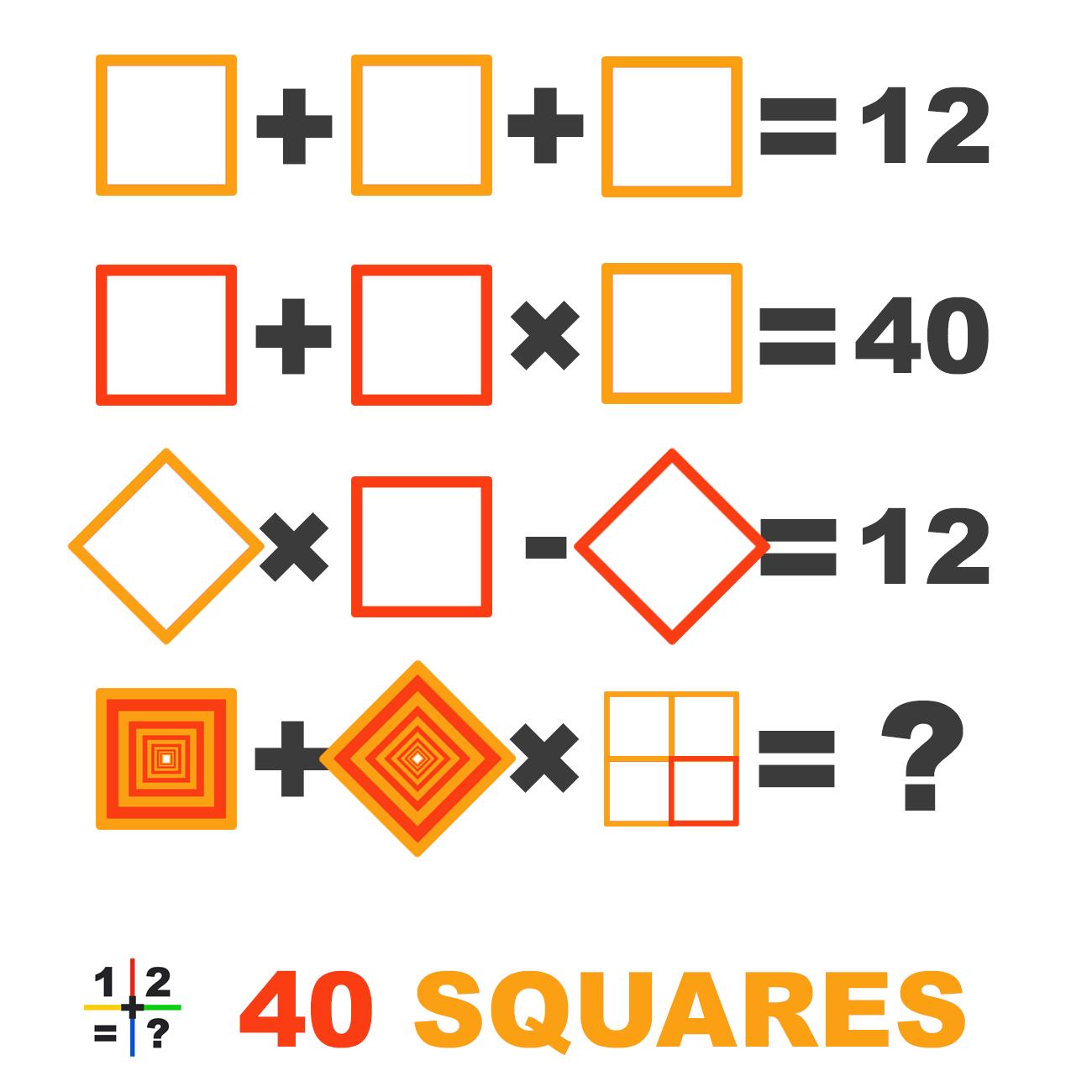 40 Squares math puzzle